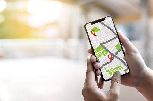 Online map on smartphone